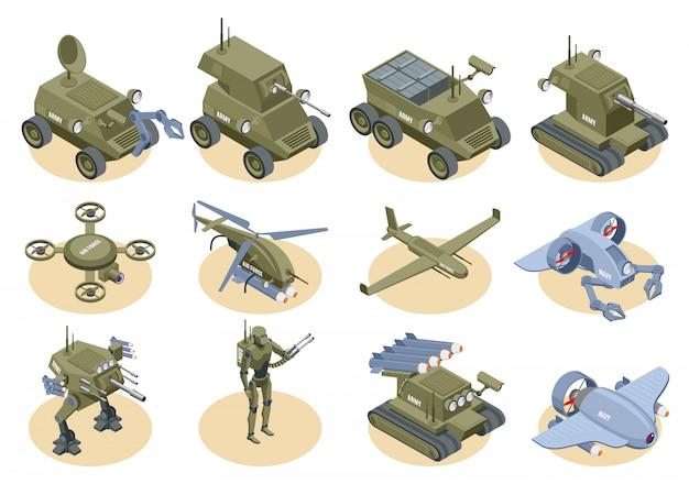 Militaire robots isometrische iconen set van onderwater robot sapper lucht drones shooter tanks en vrachtwagens geïsoleerd Gratis Vector