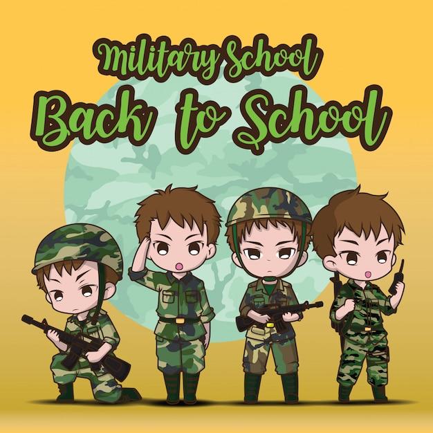 Militaire school., terug naar school. leuke leger soldaat jongen set cartoon. Premium Vector