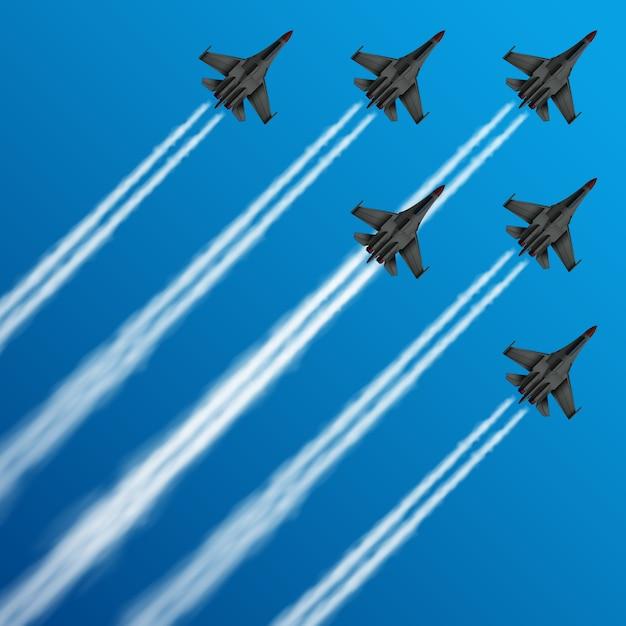 Militaire straaljagers met condensatieslepen in hemel Premium Vector