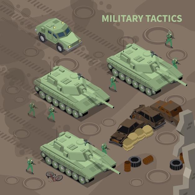 Militaire tactiek isometrische geïllustreerde soldaten met geweren oprukken onder dekking van zware militaire voertuigen Gratis Vector