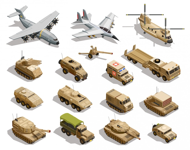 Militaire transport isometrische icon set Gratis Vector
