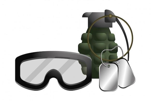Militaire veiligheidsbril met granaat en hondmarkeringsplaat Premium Vector