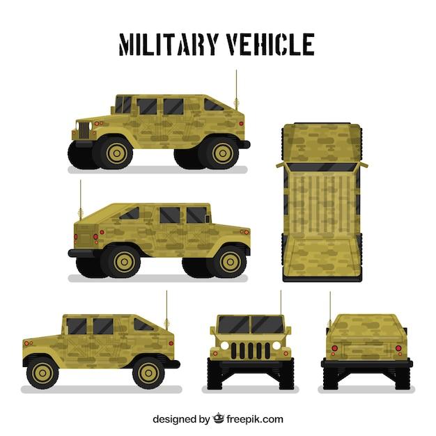 Militaire voertuig in verschillende standpunten Premium Vector