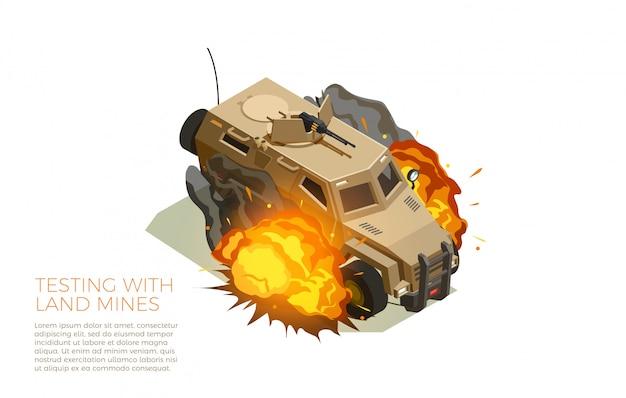 Militaire voertuigen testen isometrische samenstelling Gratis Vector