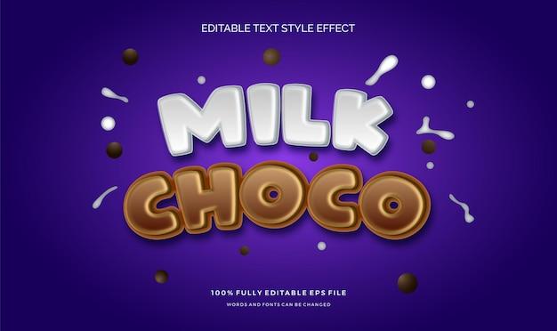 Milk choco tekststijleffect. bewerkbaar tekststijleffect Premium Vector