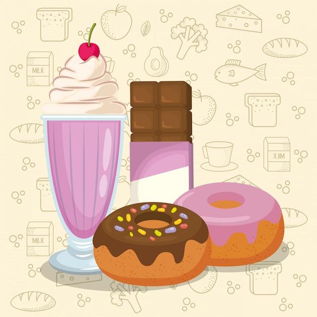 Milkshake en donuts met chocoladereep Gratis Vector