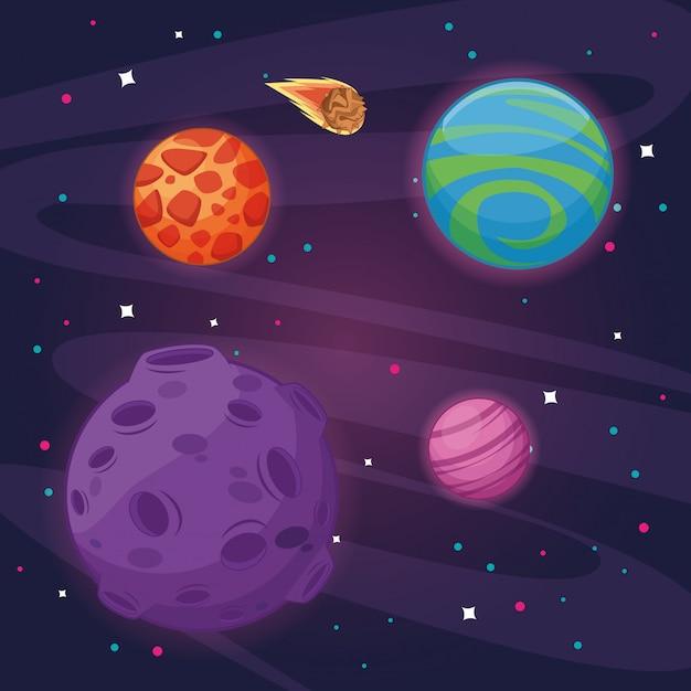 Milkyway ruimte landschap cartoon Premium Vector