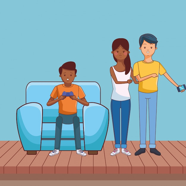Millennial people gaming party Premium Vector