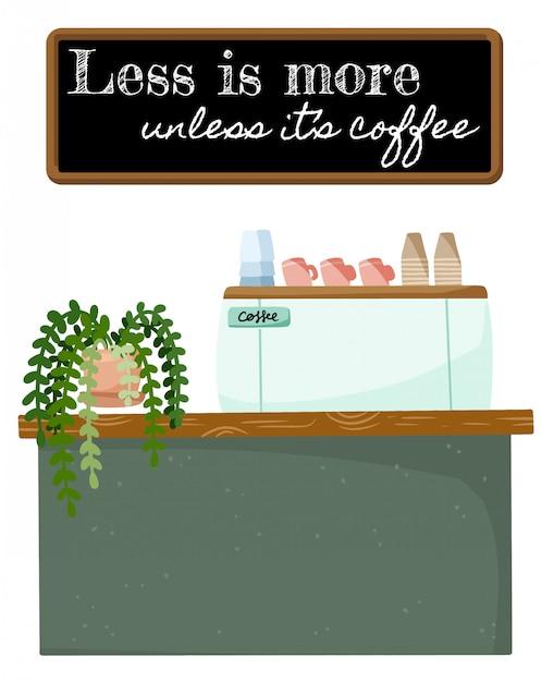 Minder is meer als het typografie van koffiecitaten is. winkel promotie motivatie. kleine bedrijven koffie cafe winkel. Premium Vector