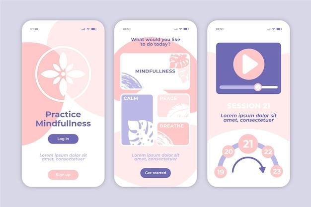 Mindfullness meditatie mobiele app Gratis Vector