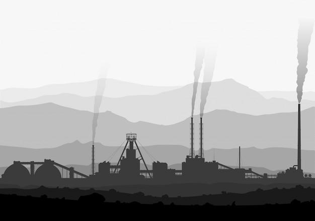 Minerale meststoffen planten over enorme bergen. Premium Vector