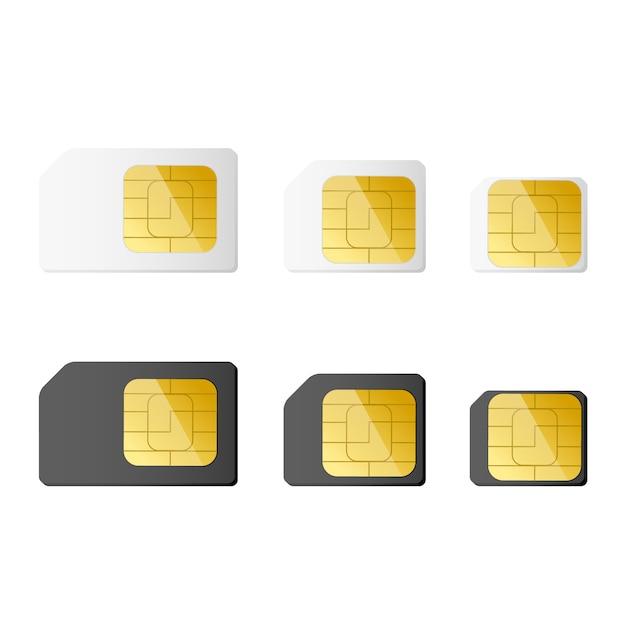 Mini-, micro-, nano-simkaarten in zwart-witte kleur Premium Vector