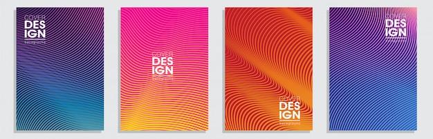 Minimaal dekseldesign. kleurrijke halftone verlopen achtergrond instellen Premium Vector