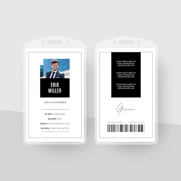 Minimaal id-kaarten sjabloonontwerp Gratis Vector