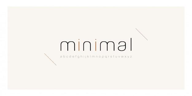 Minimaal lettertype creatieve dunne lijn moderne alfabet. Premium Vector