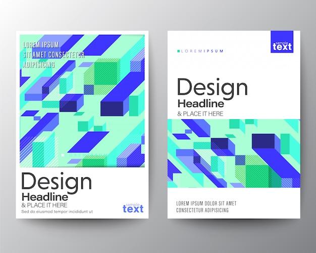 Minimaal posterontwerp met abstract paars blauw blok op mint neon achtergrond. Premium Vector