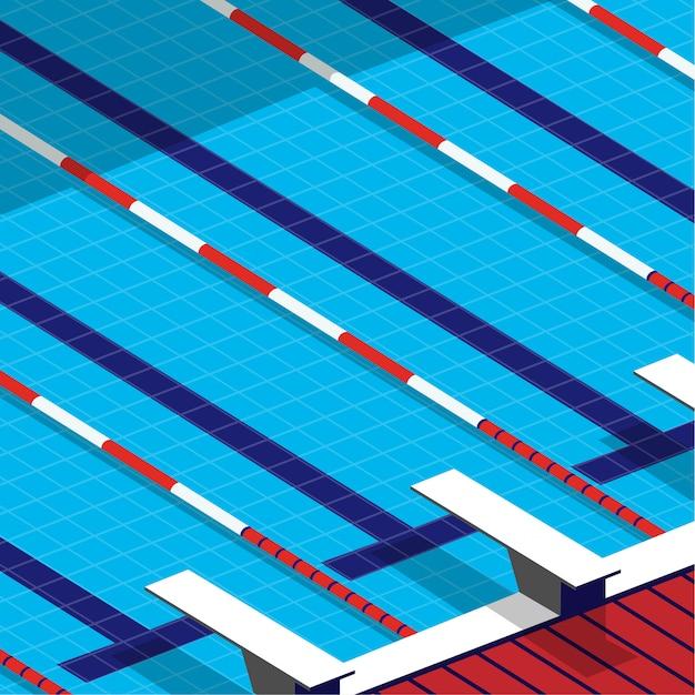 Minimaal zicht op het zwembad in minimale stijl met springplank naast het zwembad Premium Vector
