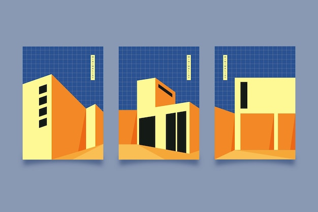 Minimale architectuur covers ingesteld Gratis Vector