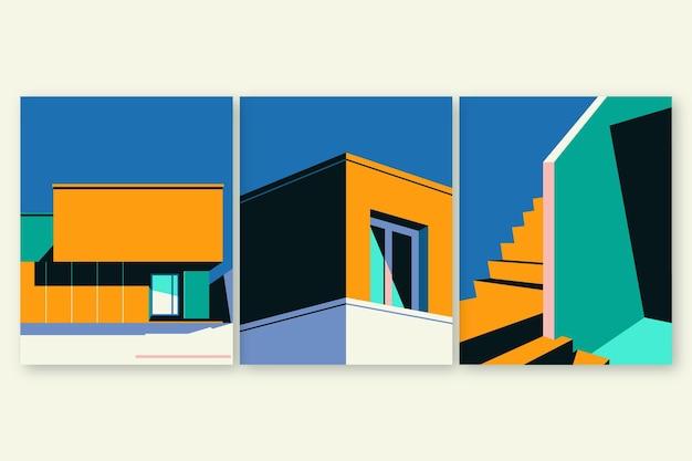 Minimale architectuur covers ingesteld Gratis Vector