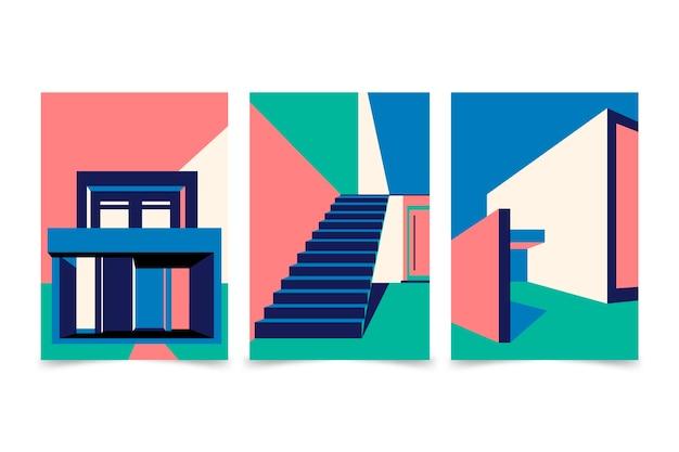 Minimale architectuur omvat collectie Gratis Vector
