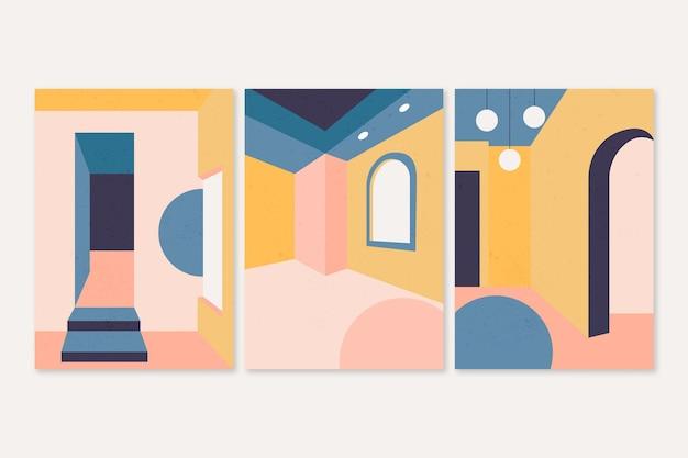 Minimale architectuur omvat ontwerp Gratis Vector