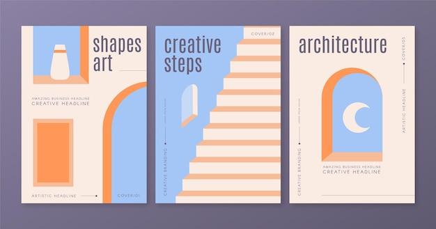 Minimale architectuur omvat sjabloonverzameling Gratis Vector