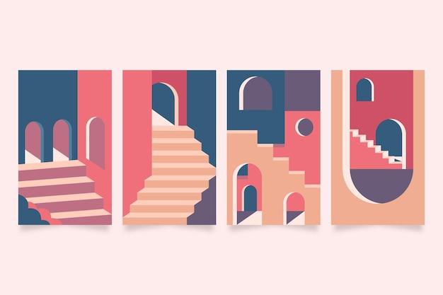 Minimale architectuurafdekkingen Gratis Vector
