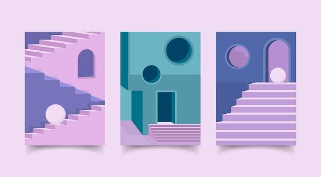 Minimale architectuurhoezen set Gratis Vector