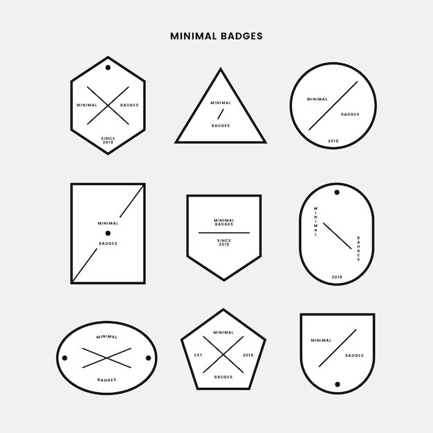 Minimale badge set Gratis Vector