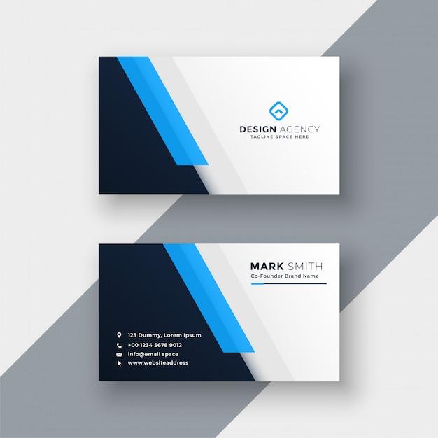 Minimale blauwe visitekaartje ontwerpsjabloon Gratis Vector