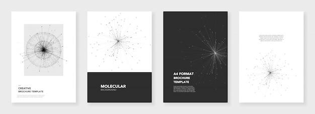Minimale brochuremalplaatjes met moleculemodellen Premium Vector