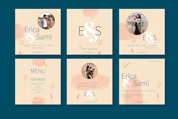 Minimale bruiloft instagram-berichten Premium Vector