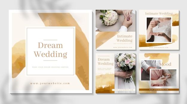 Minimale bruiloft instagram-berichten Gratis Vector