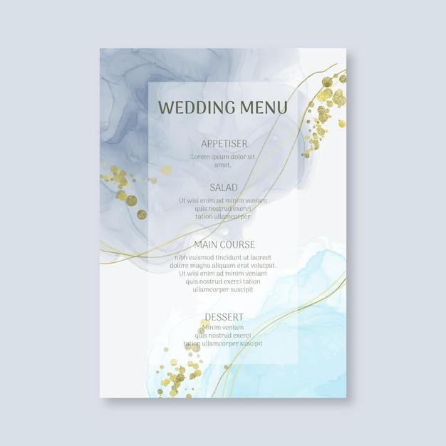 Minimale bruiloft menusjabloon Gratis Vector