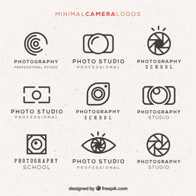 Minimale camera logo pack Gratis Vector