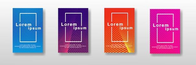 Minimale covers ontwerpset. kleurrijke halftone verlopen Premium Vector