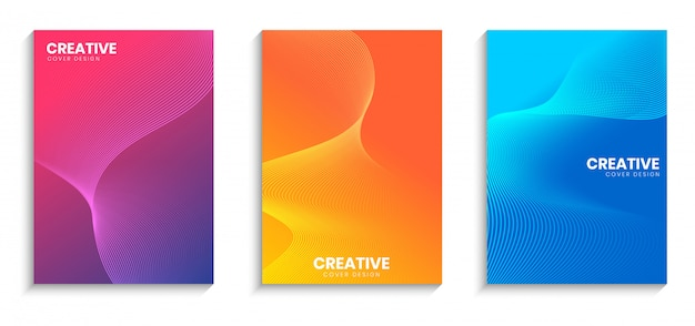 Minimale dekking ontwerpsjabloon met golvende lijnen en achtergrond met kleurovergang Premium Vector