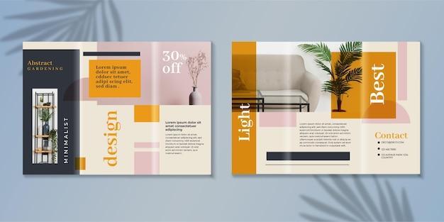 Minimale driebladige brochuremalplaatje met foto Gratis Vector