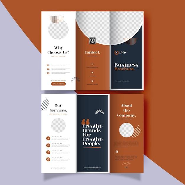 Minimale driebladige brochuremalplaatje Gratis Vector