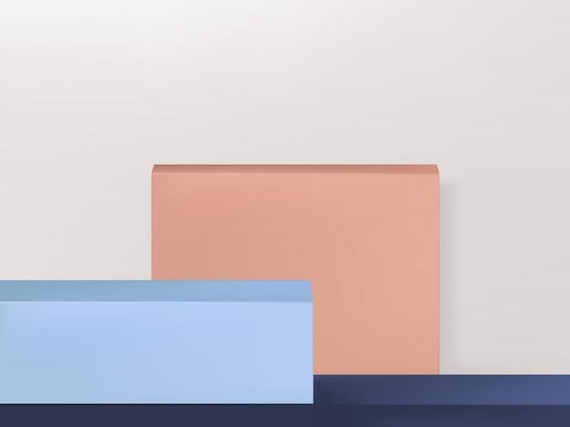 Minimale geometrie productweergave achtergrond of platform, roze, blauw en lichtgrijs, landschap Premium Vector