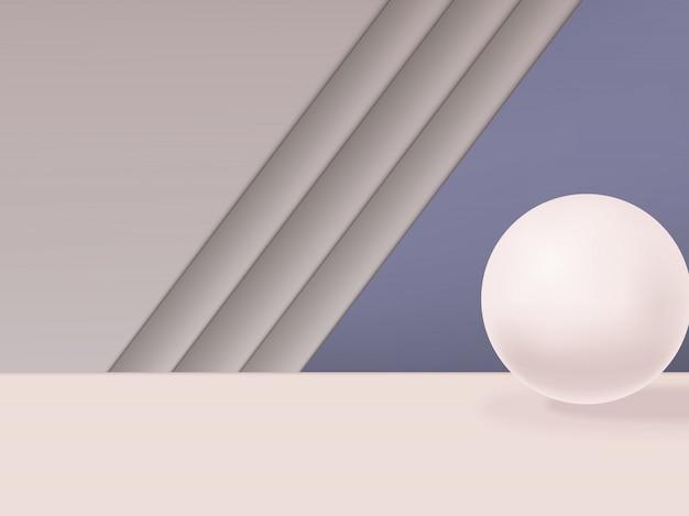 Minimale geometrische studio shot achtergrond met bol. grijs, roze en paars. Premium Vector