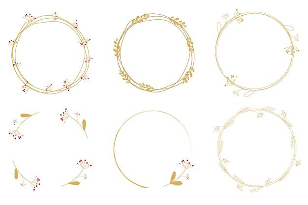 Minimale gouden paardebloem krans frame collectie Premium Vector