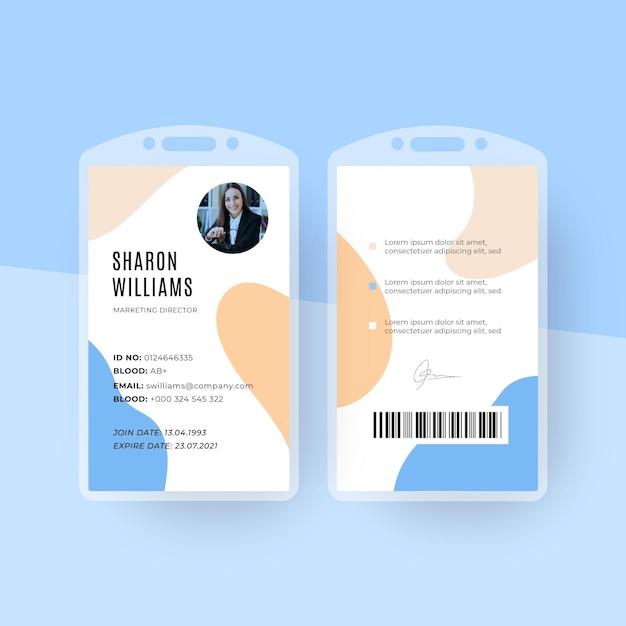 Minimale identiteitskaart-sjabloon met foto Premium Vector