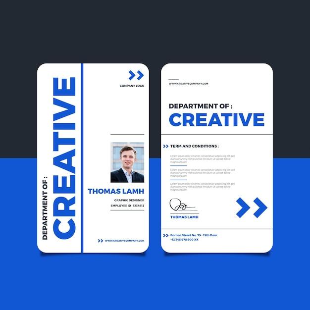 Minimale identiteitskaart-sjabloon met foto Gratis Vector