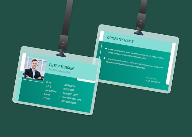 Minimale identiteitskaarten Premium Vector