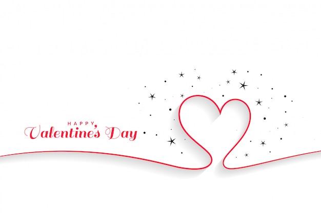 Minimale lijnharten valentijnsdag achtergrond Gratis Vector