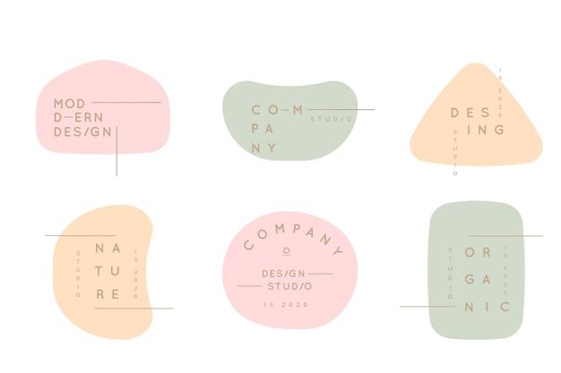 Minimale logo-collectie met pastelkleuren Gratis Vector