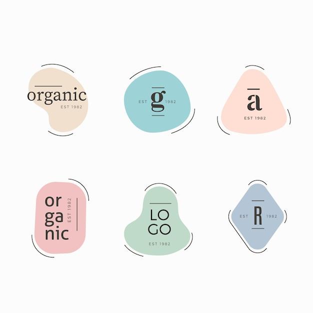 Minimale logo collectie sjabloon met pastel kleuren Gratis Vector