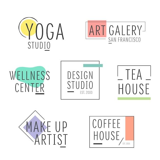 Minimale logo set met pastel kleuren Gratis Vector