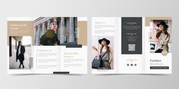 Minimale mode driebladige brochuremalplaatje Gratis Vector